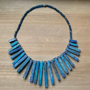 Blue natural stone necklace vintage